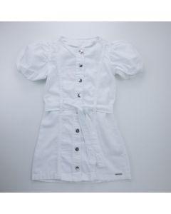 Vestido de Sarja Marfim Infantil com Botões Frontal