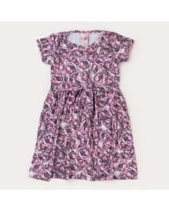 Vestido de Verão Infantil Feminino Floral Roxo
