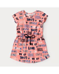 Vestido Rosa Infantil com Elástico na Cintura Estampado