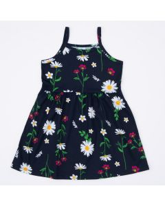 Vestido Infantil de Alcinha Marinho Florzinhas