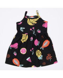 Vestido de Alcinha Preto Frutinhas Infantil