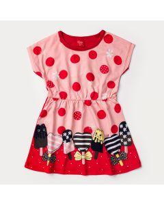 Vestido Salmão de Bolinhas Vermelhas Estampado Infantil