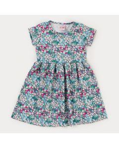 Vestido com Flores Verdes Infantil Feminino