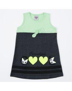 Vestido Infantil Verde Gatinho com Laço