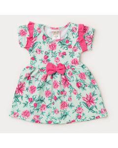 Vestido para Bebê Menina Verde com Flores Rosa
