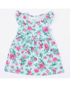Vestido Verde Flores Rosa para Bebê