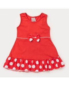 Vestido Vermelho para Bebê Menina com Bolinhas Brancas