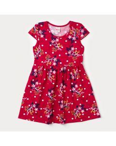 Vestido Vermelho Infantil com Estampa Floral