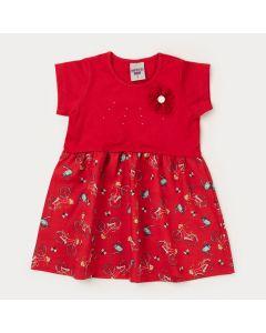 Vestido para Menina Vermelho com Estampa de Bicicleta