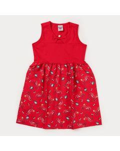 Vestido Infantil Feminino Vermelho Bicicleta