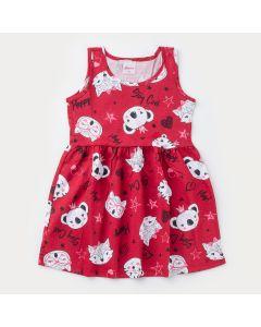 Vestido Regata Vermelho Bichinhos para Menina