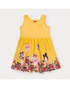 Vestido Infantil Amarelo Estampado