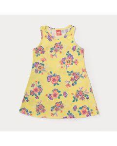 Vestido Amarelo Infantil com Estampa de Flor