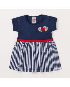 Vestido Azul Marinho para Bebê com Listras e Lacinho