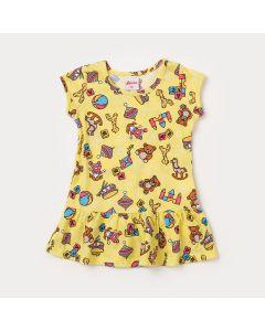 Vestido Bebê Amarelo com Estampa de Ursinho