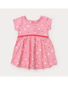 Vestido Bebê Menina Rosa com Estampa de Poá
