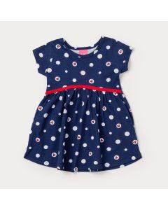 Vestido Curto Bebê Menina Marinho com Estampa de Poá