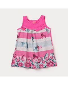 Vestido Curto Bebê Menina Rosa com Estampa de Passarinhos
