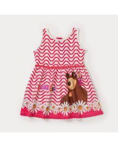 Vestido Curto Infantil Marfim Masha e o Urso