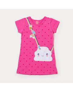 Vestido Curto Infantil Pink com Estampa de Arco-Íris