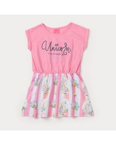 Vestido Curto Infantil Rosa com Estampa de Unicórnio