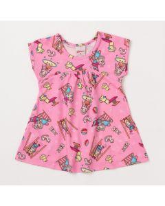 Vestido Curto para Bebê Rosa com Estampas Coloridas