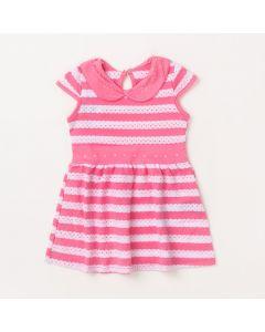 Vestido Curto para Bebê Rosa Listrado Gola com Aplique