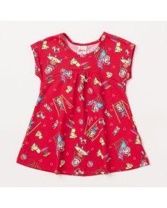 Vestido Curto para Bebê Vermelho com Estampas Coloridas