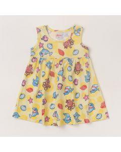 Vestido de Bebê Amarelo com Estampas de Bichinhos