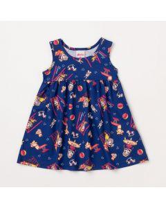 Vestido de Bebê Azul Marinho com Estampas de Bichinhos