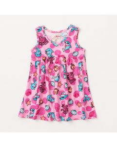 Vestido de Bebê Rosa com Estampas de Bichinhos