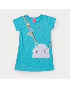 Vestido Infantil Azul com Estampa de Arco-Íris