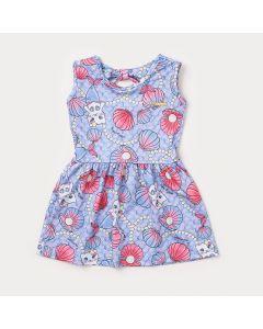 Vestido Infantil Azul com Estampa de Sereia