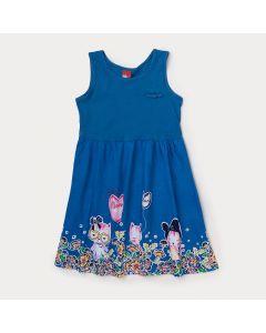 Vestido Infantil Azul com Estampa de Gato