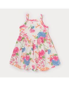 Vestido Infantil Branco Florido