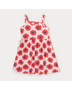 Vestido Infantil Branco com Flores Vermelhas