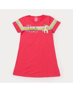 Vestido Infantil Feminino Pink com Estampa de Unicórnio