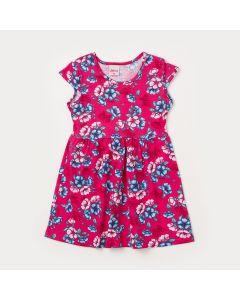 Vestido Infantil Pink com Estampa de Flor