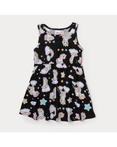 Vestido Infantil Preto com Estampa de Unicórnio