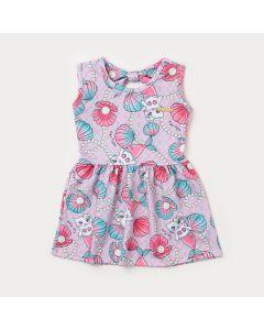 Vestido Infantil Rosa com Estampa de Sereia