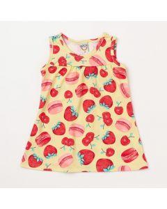 Vestido para Bebê Amarelo com Estampa de Frutas