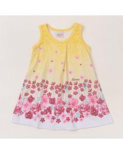 Vestido para Bebê Curto Amarelo Floral