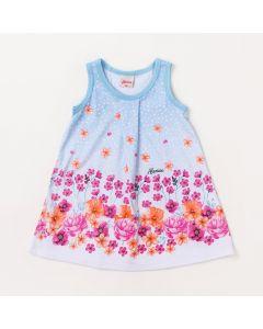 Vestido para Bebê Curto Azul Claro Floral