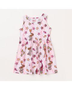 Vestido para Meninas Curto Rosa com Estampa Floral