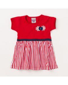 Blusa Bata Vermelha Infantil com Listras e Lacinho