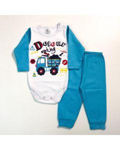 Conjunto de Roupa de Inverno para Bebê Menino com Body e Calça Azul